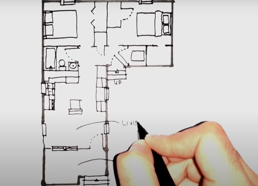 plan d'une maison en L