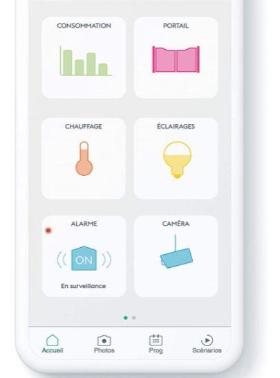 Une photo qui montre l'application sur Smartphone pour gérer le Tydom 1.0