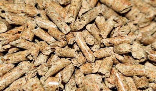 Des granulés de bois (aussi appelés pellets)